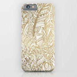 Elegant gold foil bohemian aztec feathers iPhone Case