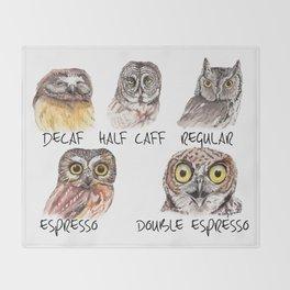 Owl Caffeine Meter -  funny owl coffee Throw Blanket