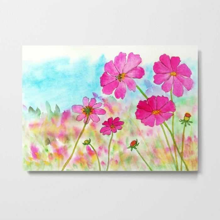 Symphony In Pink, Watercolor Wildflowers Metal Print