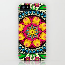 folk flowers collage iPhone Case
