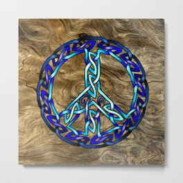 Crystal Blue Peace Sign Knot Metal Print