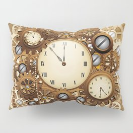 Steampunk Vintage Style Clocks and Gears Pillow Sham
