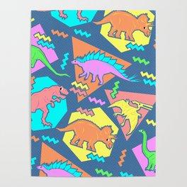 Nineties Dinosaur Pattern Poster