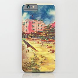 Hawaii's Famous Waikiki Beach - United Air Lines Vintage Travel Poster iPhone Case