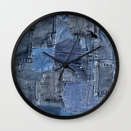 Blue Jeans Pocket Patchwork Pattern Wall Clock