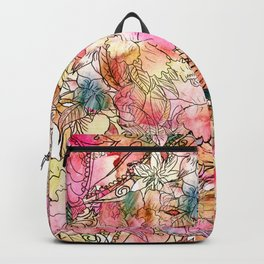 Summer Flowers | Colorful Watercolor Floral Pattern Abstract Sketch Backpack
