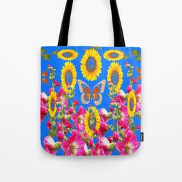 ASSORTED FLOWERS MODERN BLUE ART Tote Bag