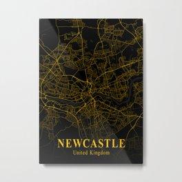 Newcastle - United Kingdom Gold City Map Metal Print