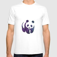 SPACE PANDA White Mens Fitted Tee MEDIUM
