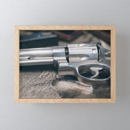 Closeup of powerful handgun. Pistol Revolver Handgun Framed Mini Art Print