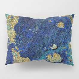Indigo Teal and Gold Ocean Pillow Sham