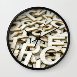 Pile of Mixed Wooden Letters Close Up Wall Clock