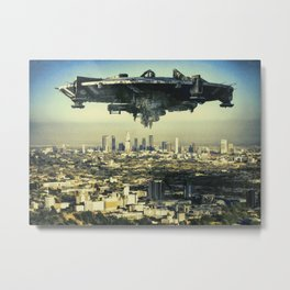 The alien ship over the Los Angeles Metal Print
