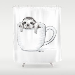Sloth in a Cup Shower Curtain
