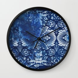 Blue Print Crystalized Wall Clock