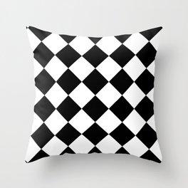 Diamond (Black & White Pattern) Throw Pillow
