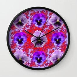 RED & PURPLE PANSIES GARDEN PATTERN Wall Clock