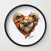 ewok Wall Clocks featuring Ewok Star Wars Heart Art by Sam Skyler