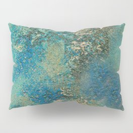 Blue And Gold Modern Abstract Art Painting Pillow Sham