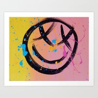 blink 182 Art Prints featuring blink 182 smiley face by Ghettobrite