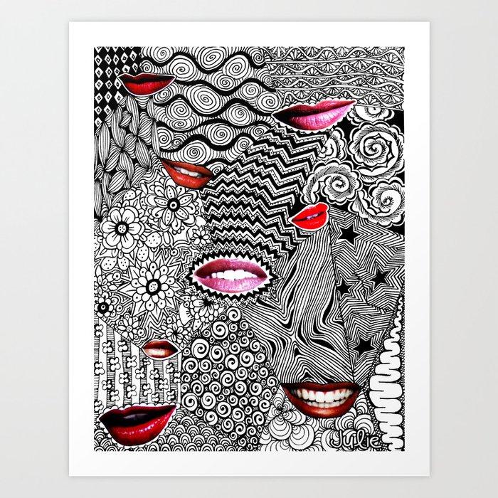 Tangled Lips Art Print