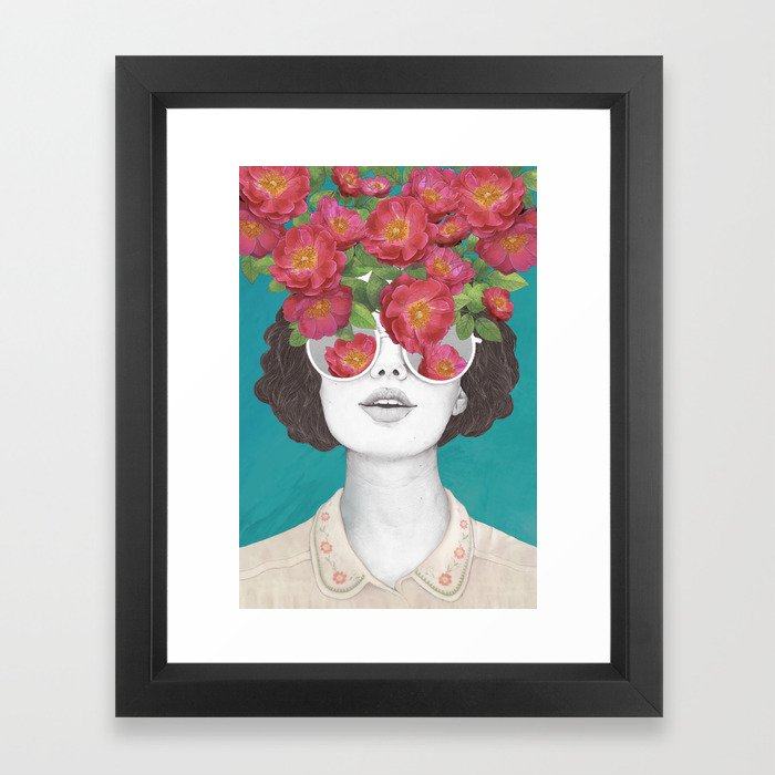The optimist // rose tinted glasses Framed Art Print
