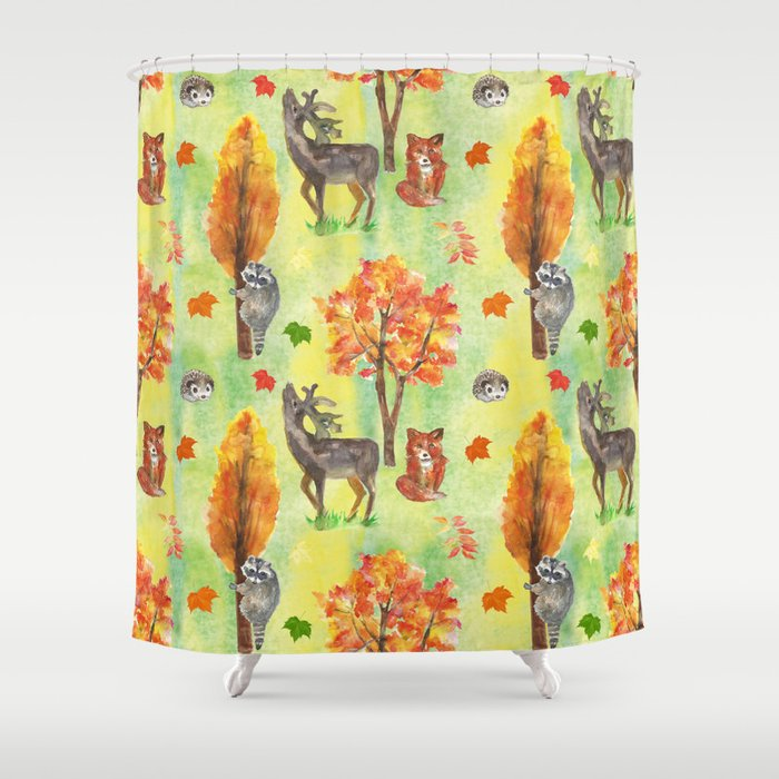 Woodland Watercolor Animals Shower Curtain