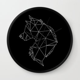 Geometric Wolf (White on Black) Wall Clock