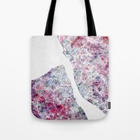 liverpool Tote Bags featuring Liverpool map by MapMapMaps.Watercolors