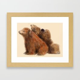 Gregory and Greta Grizzly Framed Art Print