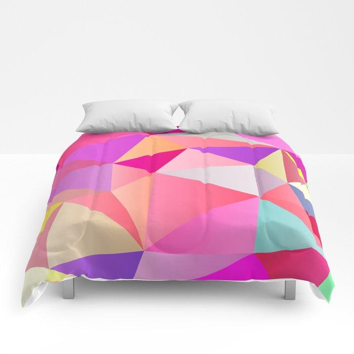Pink Polygons Comforters