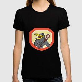 Black Bird Lacrosse Player Shield Cartoon T-shirt