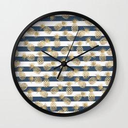 Modern nautical navy blue stripes faux gold pineapple Wall Clock