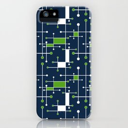 Intersecting Lines in Navy, Lime and White iPhone Case