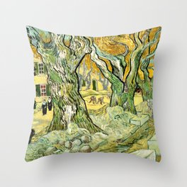The Road Menders,by Gogh, Vincent van Throw Pillow