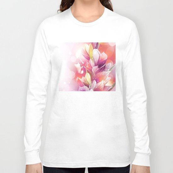 Woman And Flowers By Annie Zeno  Long Sleeve T-shirt