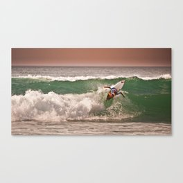 Jeremy Flores, Surfing during world tour of surf Canvas Print