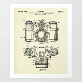 Photographic Camera with coupled exposure meter-1962 Art Print