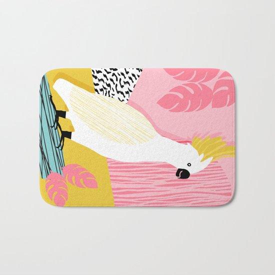 FeelFree - memphis throwback retro bird tropical nature animal parrot cockatoo 1980s 80s pop art Bath Mat