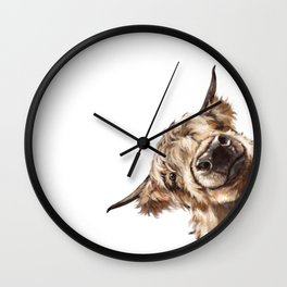 Sneaky Highland Cow Wall Clock