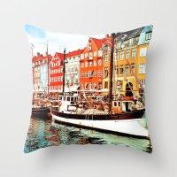 denmark Throw Pillows featuring Copenhagen, Denmark by Philippe Gerber