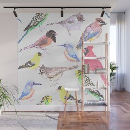 colorful birds stained glass art- budgie cardinal goldfinch titmouse kingfisher cedar waxwing juncos Wall Mural