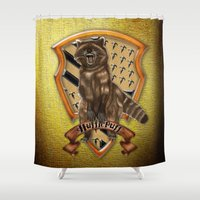 hufflepuff Shower Curtains featuring Hufflepuff harry potter by JanaProject