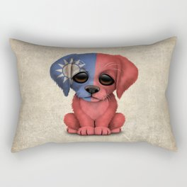 Cute Puppy Dog with flag of Taiwan Rectangular Pillow
