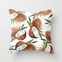 coconut wishes Throw Pillows featuring Coconut by Vale Bocchi