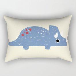 Cute Blue Triceratops Dinosaur Rectangular Pillow