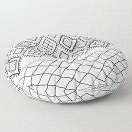 Beni Moroccan Print in Cream and Black Floor Pillow