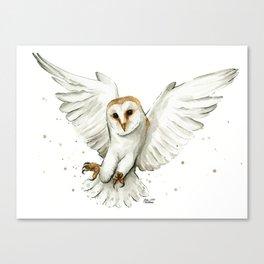 Barn Owl Flying Watercolor | Wildlife Animals Canvas Print