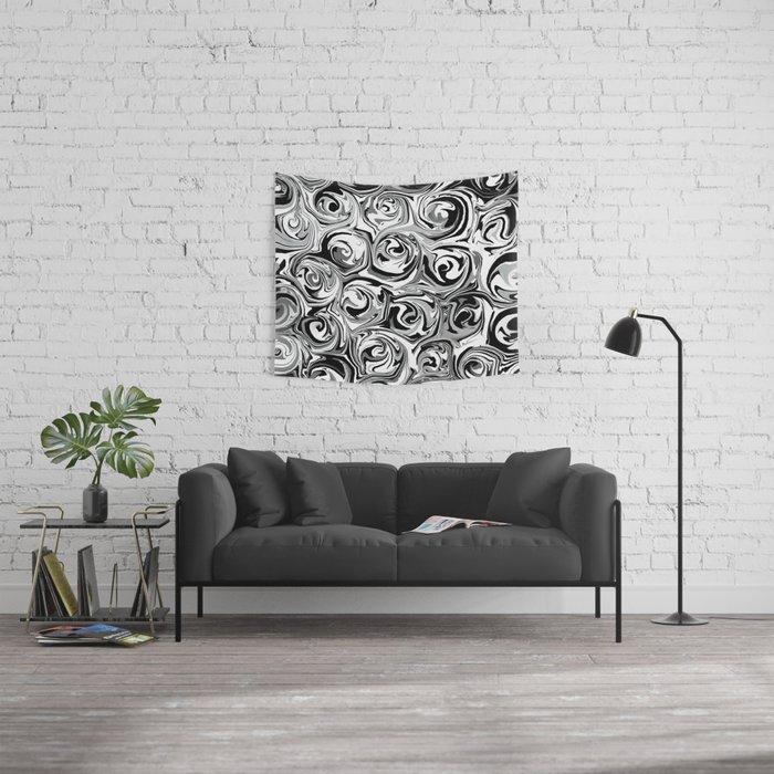 Onyx Black and White Paint Swirls Wall Tapestry