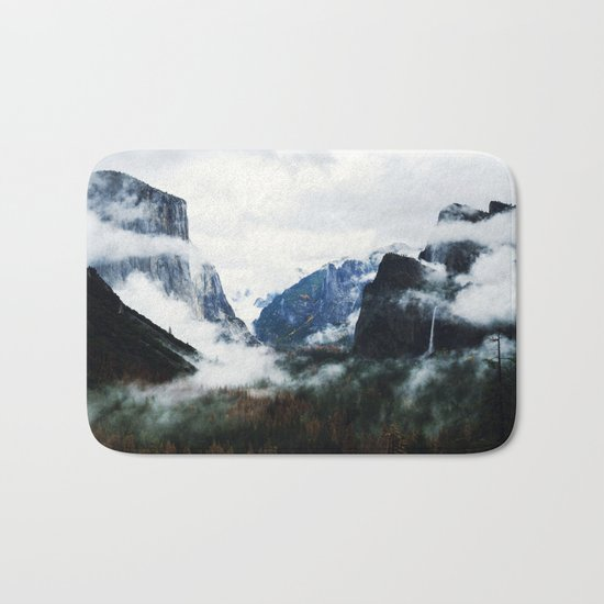 Cloudy Forest Great Outdoors Mountains Photography Bath Mat